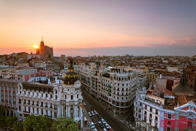 Sunset over the city of Madrid, Spain
