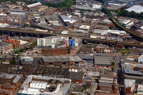 Aerial view of the Digbeth, Birmingham, from the air. Showing the Custard Factory, old coach and bus station and industrial u...