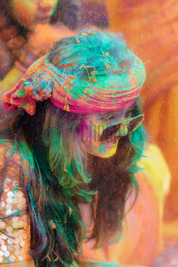 Portrait of a Woman Playing Holi at Golf Green Park in South Calcutta