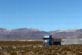Borax mining truck with Chilean flag on front on A-95 road to Salar de Surire, Las Vicuñas National Reserve, Region XV, Chile