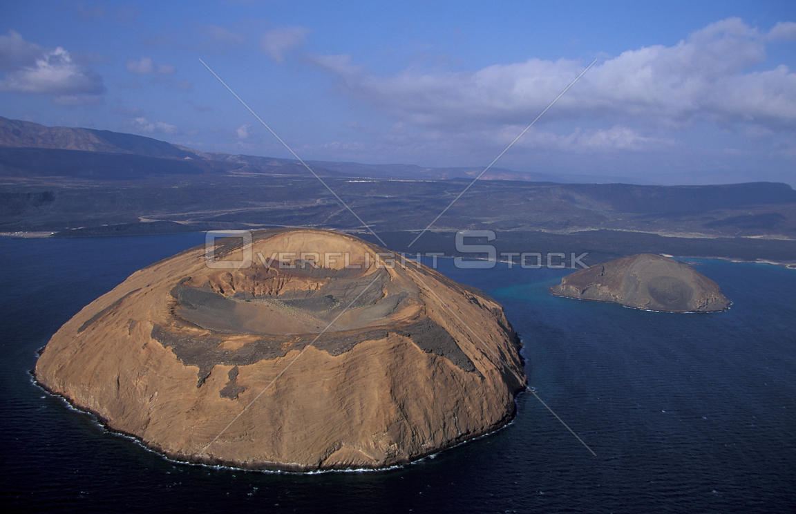 Aerial view of Ile du Diable and Bay of Ghoubbet, Djibouti, East Africa