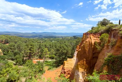 View of the famous ochre mountains, Roussillon, France
