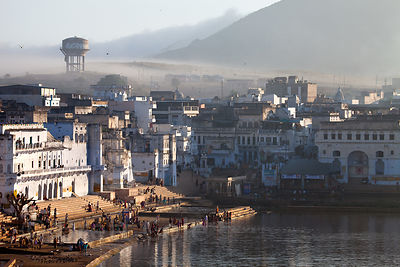 Early morning light on temples in Pushkar, Rajasthan, India