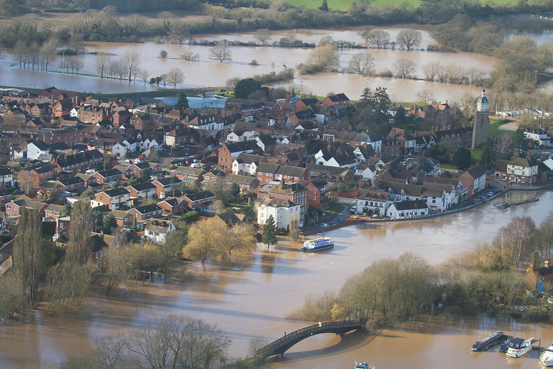 Upton upon Severn and River Severn, during February 2014 floods in Severn valley, Worcestershire, England, UK, 7th February 2...