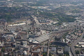 Manchester high level aerial view looking from Piccadilly Railway Station towards Sport City and Eastlands