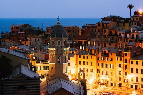 Italy, Liguria, Vernazza, view from Cinque Terre Trail, dusk