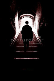 An atmospheric image of the silhouette of a mystery Victorian man, walking up some steps, out into daylight.