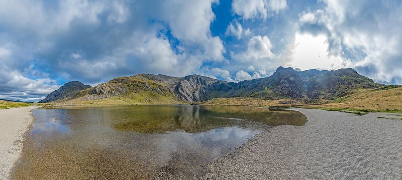 View Across Lake at The Glyderau in Snowdonia