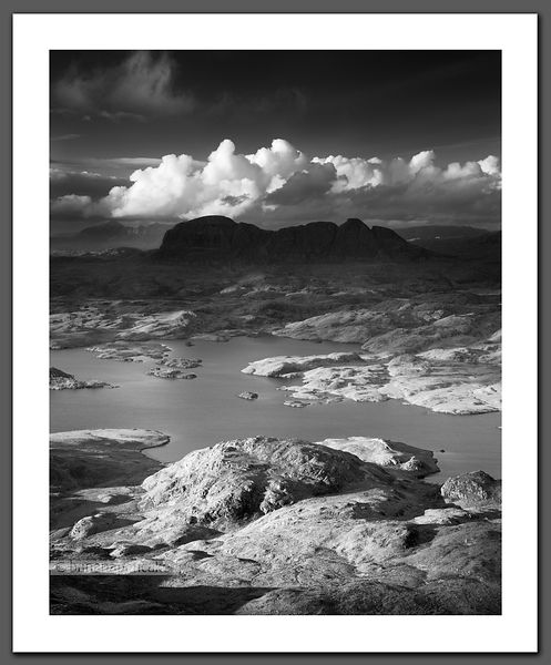 Suilven and Loch Sionascaig Black and White Print (BP3093BW2)