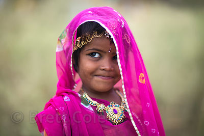 A girl in her sari and jewelry in Pushkar, Rajasthan, India