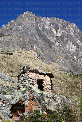 Chullpa or burial tower by Inca quarries at Cachicata, near Ollantaytambo, Sacred Valley, Peru