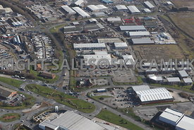 Widnes aerial photograph looking across Ashley Way towards Fiddlers Ferry road and Dennis road and the Industrial estates and...