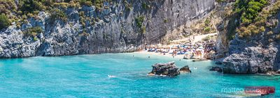 Panoramic of Xigia beach crowded with tourists in summer, Zante, Greece