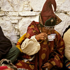 Lama drinking tea, Samye
