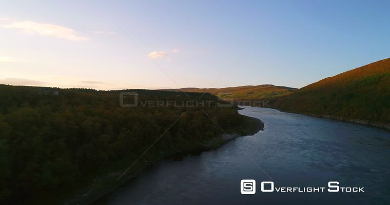 Autumn River, Aerial View Over Tenojoki River at the Border Between Norway and Utsjoki Town, on a Sunny Autumn Day, in Utsjok...