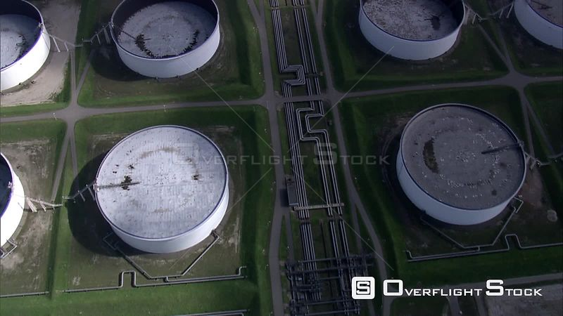Over holding tanks at an oil terminal on the River Maas Port of Rotterdam, The Netherlands
