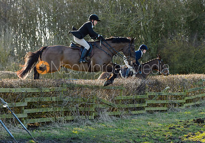 Alice Robb jumping a hedge at Town Park Farm - The Cottesmore at Town Park Farm
