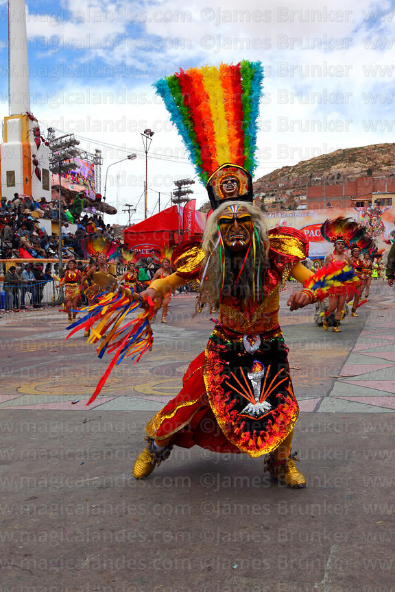 Masked warrior dancing the tobas, Oruro Carnival, Bolivia