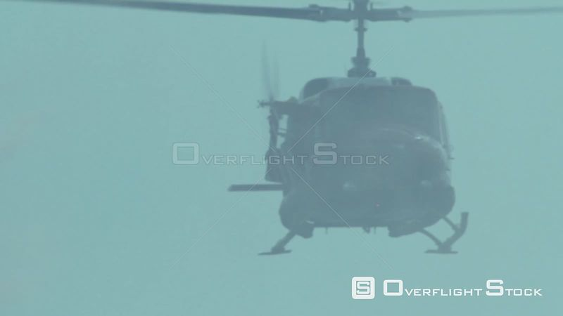 Aerial slow motion shot of a rescue helicopter hovering above the ocean Cape Town Western Cape South Africa