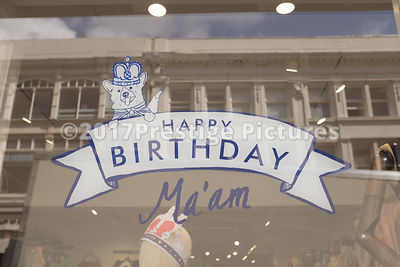 90th Birthday Greeting for The Queen on a Shop Window