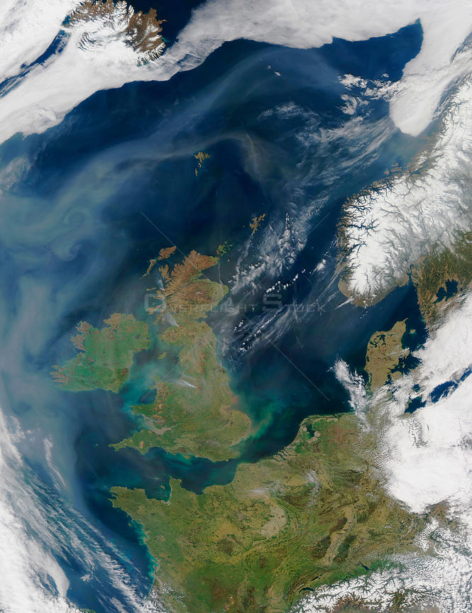 EARTH Western Europe -- 18 Apr 2003 -- A mixture of dust from the Sahara Desert, air pollution, and smoke lingers over the At...