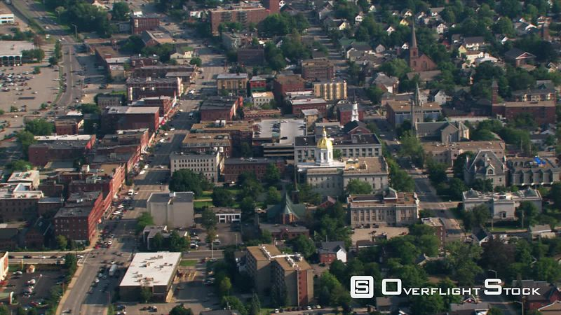 Flight over capitol building and neighborhood in Concord, NH