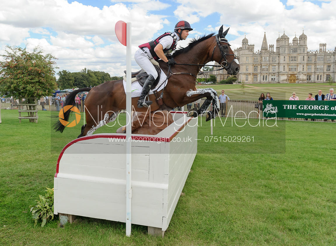 Kevin McNab and CLIFTON PINOT - cross country phase,  Land Rover Burghley Horse Trials, 7th September 2013.