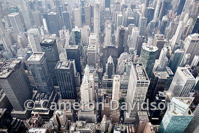 Aerial photograph of  Garment District in New York City.