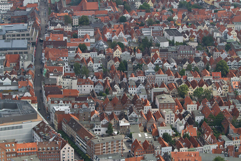 Aerial view of Lubeck, Schleswig-Holstein, Germany, July 2012