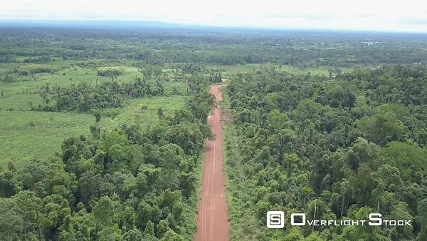 Aerial view of Red Road in Laos, Kiat Ngong and Phu Asa, filmed by drone, Laos