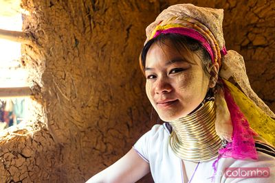 portrait of woman of Padaung (long neck) ethnicity, Thailand