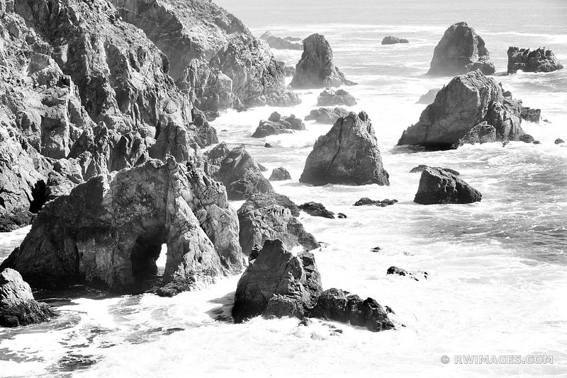 BODEGA BAY SONOMA ROCKY COAST CALIFORNIA BLACK AND WHITE SEASCAPE