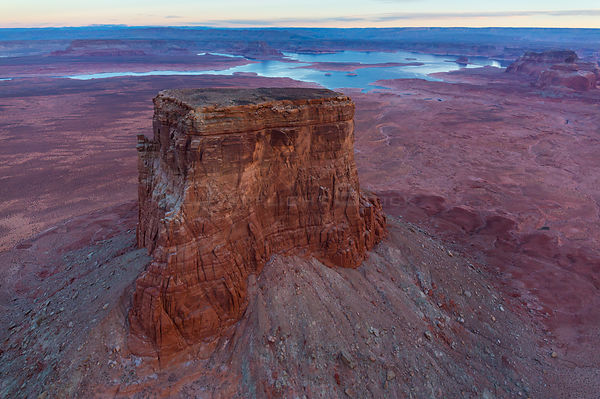 Aerial landscape of butte rock formation near Colorado River, Lake Powell, Page, Arizona, USA, February 2015.