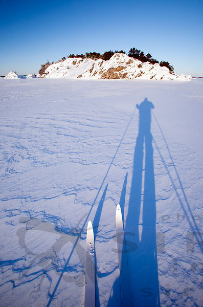 Skier's shadow in the Archipelago