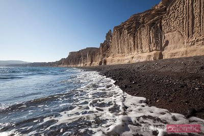 Famous Vlychada beach in Santorini with limestone cliffs, Greece