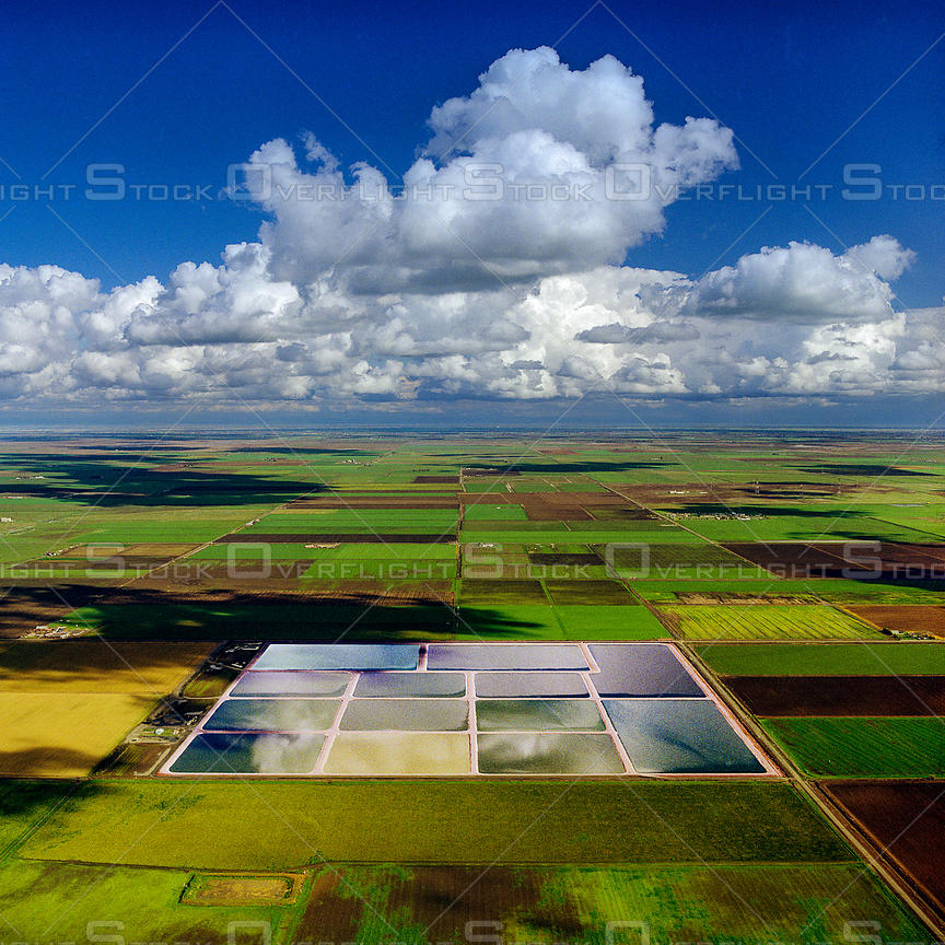 Farmland With Irrigation Ponds, Sacramento Valley, California