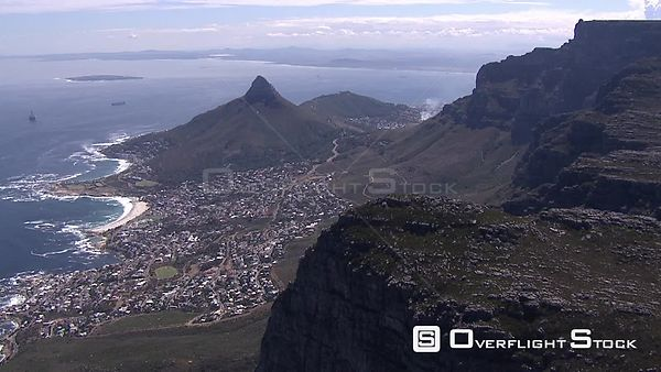Aerial shot over Cape Town and Lion's Head. Cape Town Western Cape South Africa