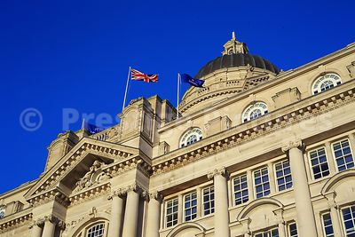 The Port of Liverpool Building at Pier Head Liverpool against a Mediterranean Blue Sky