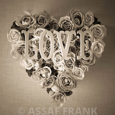 Heart shaped roses with the word love