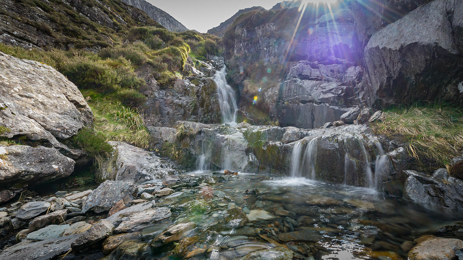 Waterfall at the Glyderau in Snowdonia
