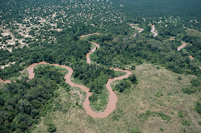 Aerial view of Ishasha river near the former Zaire - Uganda border, Virunga NP, Democratic Republic of Congo