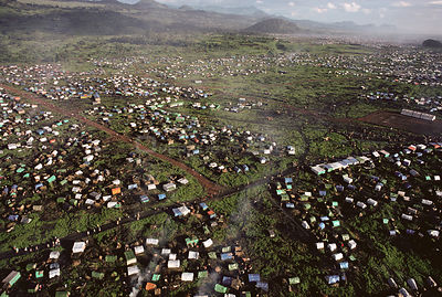 Aerial view of Kibumba refugee camp for Rwandan Hutu refugees, Virunga NP, Democratic Republic of Congo, 1994