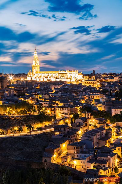 City and the Cathedral at dusk, Toledo, Spain