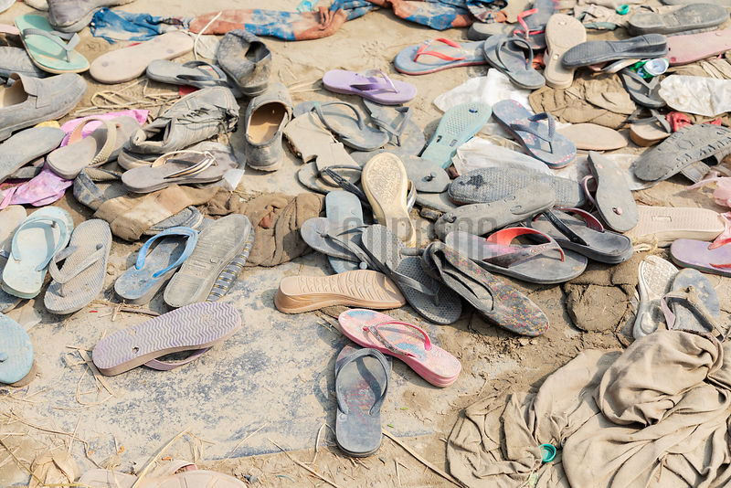 Discarded Slippers along a Main Thoroughfare at the 2019 Kumb Mela