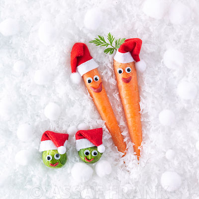 Fun Christmas carrots and brussels