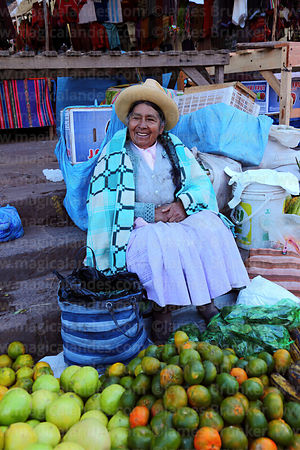 Quechua lady selling fruit at Pisac market, Sacred Valley, Cusco Region, Peru