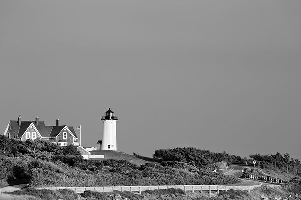NOBSKA POINT LIGHTHOUSE WOODS HOLE CAPE COD MASSACHUSETTS BLACK AND WHITE