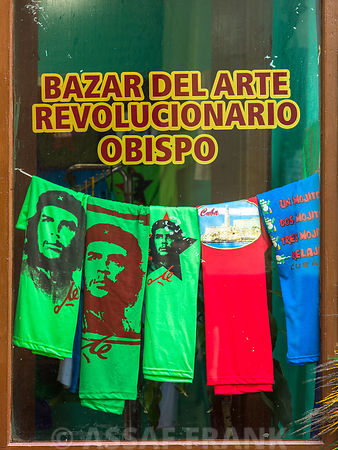 Che Guevara t-shirts in different colors displayed at a shop window in Havana, Cuba
