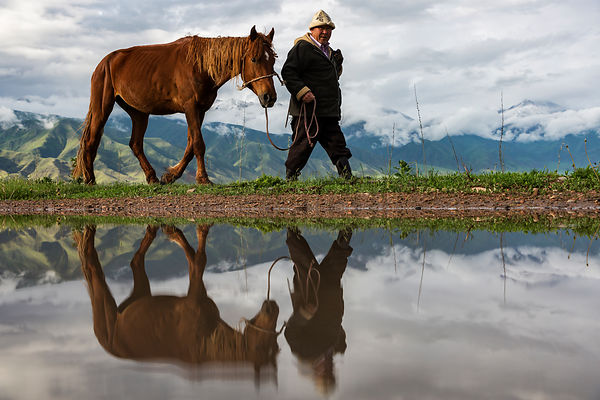 Reflection of a Kyrgyz Man Walking with his Horse