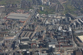 Manchester high level view of Ancoats and the new developments